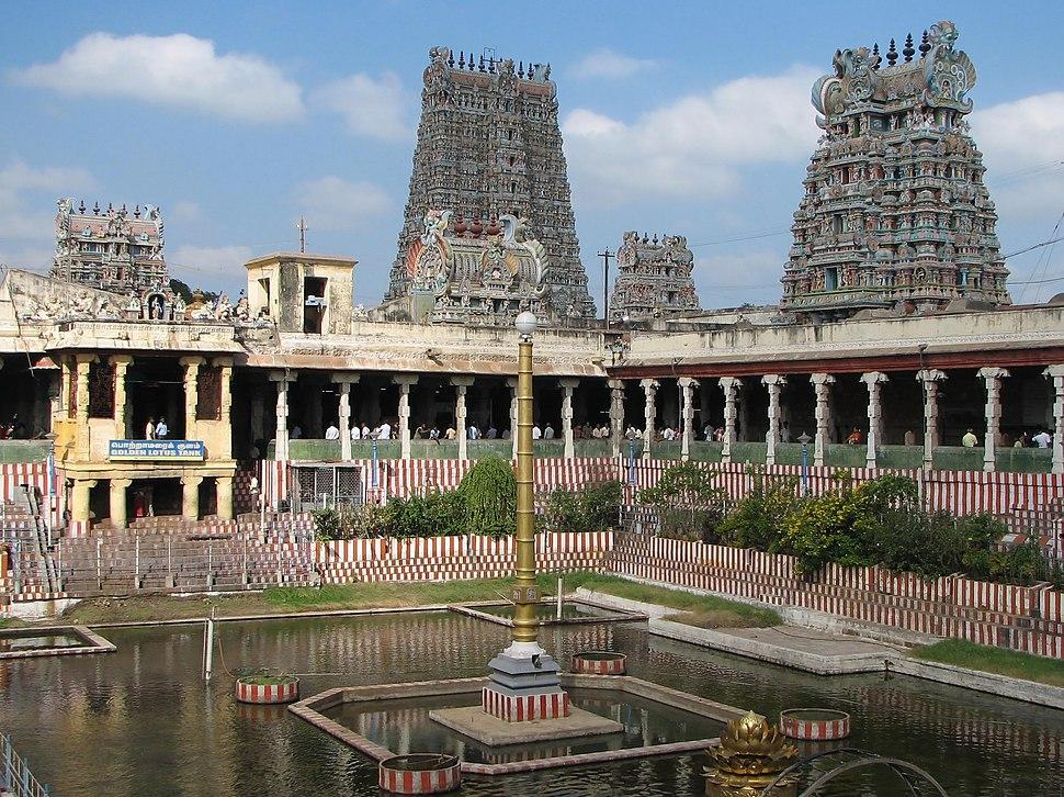 Meenakshi temple gopura and water pool