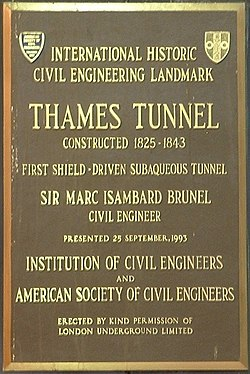 Thames tunnel plaque
