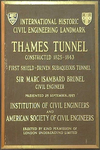 Thames Tunnel - Commemorative plaque at Rotherhithe underground station before the East London line was closed in 2007