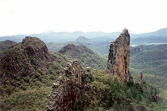Trachyte - The Breadknife is a peralkaline trachyte dike in the Warrumbungles of eastern Australia