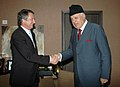 The Chief Executive Officer and Chairman of the Board of Managing Directors of Germany's KfW, Dr. Ulrich Schroder calls on the Union Minister of New and Renewable Energy, Dr. Farooq Abdullah in New Delhi on February 05, 2010.jpg