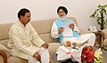 The Chief Minister of Punjab, Shri Prakash Singh Badal calling on the Minister of State for Culture (Independent Charge), Tourism (Independent Charge) and Civil Aviation, Dr. Mahesh Sharma, in New Delhi on May 29, 2015.jpg