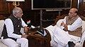 The Governor of Tamil Nadu, Shri Banwarilal Purohit calling on the Union Home Minister, Shri Rajnath Singh, in New Delhi on December 12, 2017.jpg
