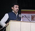 The Minister of State for Information & Broadcasting, Col. Rajyavardhan Singh Rathore addressing the valedictory function of the International Radio Fair, at Bhubaneswar, in Odisha on February 14, 2016.jpg