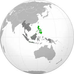 Ibùdó ilẹ̀  Filipínì  (green)ní ASEAN  (dark grey)  —  [Legend]