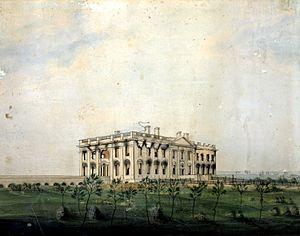 George Munger (artist) - The President's House, watercolor by George Munger, 1814-1815.