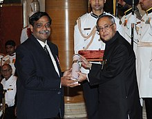 The President, Shri Pranab Mukherjee presenting the Padma Shri Award to Dr. Ajay Kumar Parida, at an Investiture Ceremony-II, at Rashtrapati Bhavan, in New Delhi on April 26, 2014.jpg