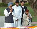 The Prime Minister, Dr. Manmohan Singh paying homage at the Samadhi of Mahatma Gandhi at Rajghat on the occasion of 61st Independence Day in Delhi on August 15, 2007.jpg