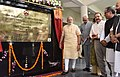 The Prime Minister, Shri Narendra Modi unveiling the plaque to inaugurate Shri Mata Vaishno Devi Narayana Superspeciality Hospital, at Katra, in Jammu and Kashmir.jpg