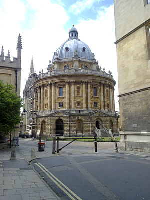 Radcliffe Camera - The Camera, as viewed from outside the Bodleian Library on Catte Street, with St Mary's obscured behind left.