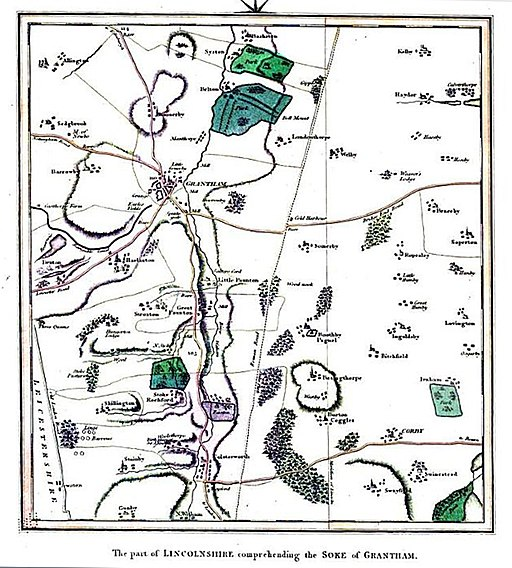 The Soke of Grantham, Lincolnshire, England - map of 1806