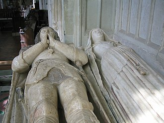 John de la Pole, 2nd Duke of Suffolk - Effigies of John de la Pole, 2nd Duke of Suffolk, KG, and his wife, in Wingfield Church, Suffolk. He wears the Garter below his left knee