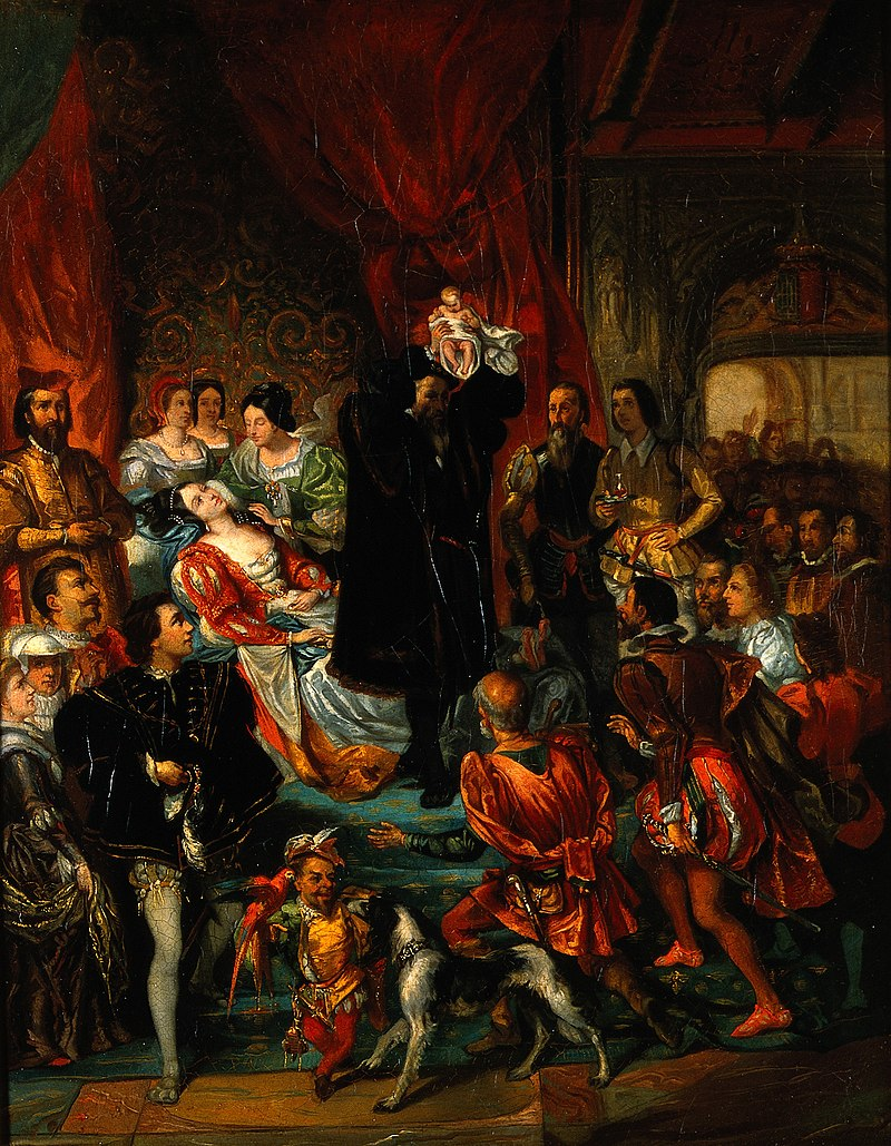 The birth of Henri IV at the castle of Pau. Oil painting aft Wellcome V0017235.jpg