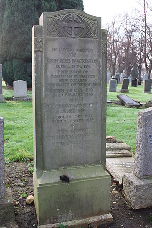 Hugh Mackintosh - The grave of Hugh Ross Mackintosh, Morningside Cemetery, Edinburgh