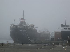 The lake freighter Quebecois, from Polson Street, 2012-03-17 -b.jpg