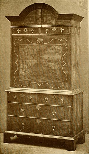 Maple & Co. - William and Mary walnut drop-front secretary with single hood top by Maple, around 1910
