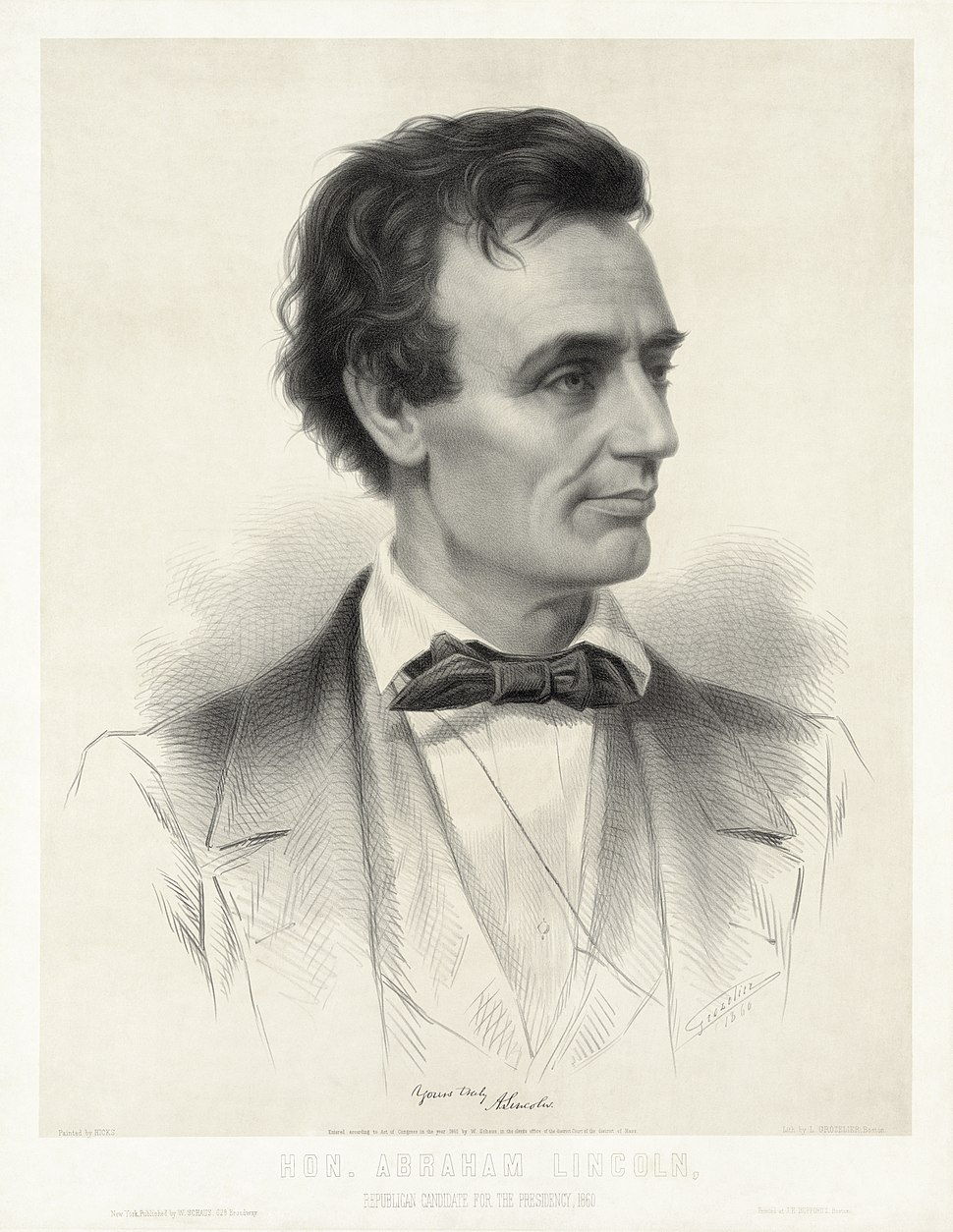Thomas Hicks - Leopold Grozelier - Presidential Candidate Abraham Lincoln 1860 - cropped to lithographic plate
