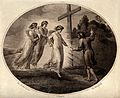 Three angels appear to a man who passes a cross. Engraving b Wellcome V0035604.jpg