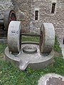Thury Castle, NE part, mill wheels, 2017 Várpalota.jpg