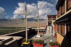 Thikse Monastery - The courtyard and view from the monastery.