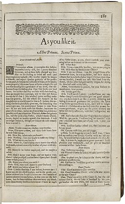 Title Page of As You Like It from the Second Folio