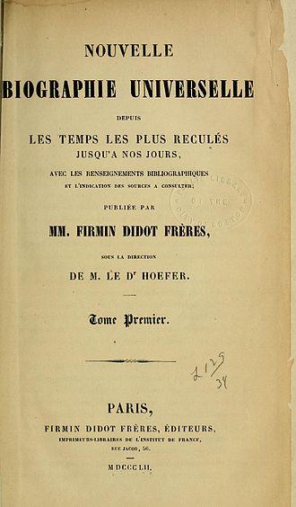 Nouvelle Biographie Générale - Title page of volume 1, 1852