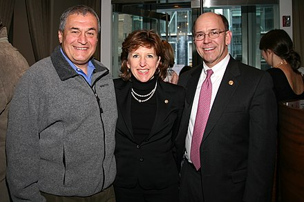 Lobbying depends on cultivating personal relationships over many years. Photo: Lobbyist Tony Podesta (left) with former senator Kay Hagan (center) and her husband. Tony Podesta, Senator Kay and Chip Hagan.jpg