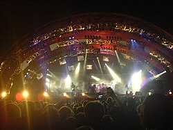 Tool appeared at many big festivals during their 10,000 Days tour. Here, they play the orange stage (main stage) at the 2006 edition of Roskilde Festival.