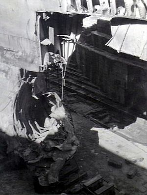 USS Chicago (CA-29) - Torpedoed bow of Chicago, while drydocked in Australia.