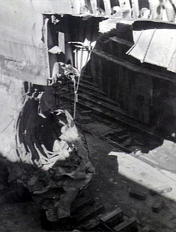 Torpedoed bow of USS Chicago (CA-29) 1942