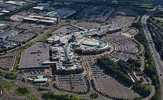 Trafford Centre - The main Trafford Centre mall is pictured centre and the Barton Square extension is towards the top left.
