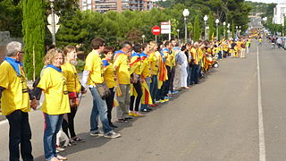 400 km long Human chain organized by the Assemblea Nacional Catalana for the independence of Catalonia