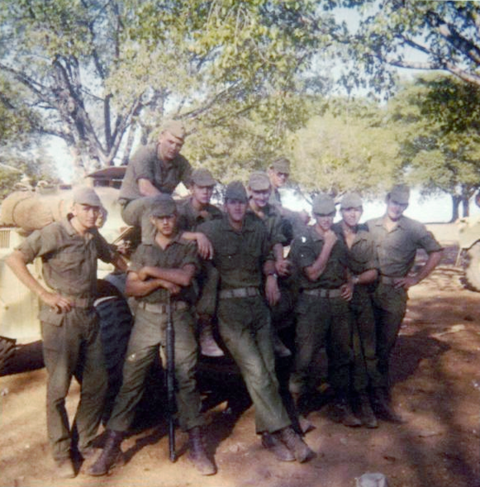 South African troops in nondescript uniforms during Operation Savannah. Troop3 of DSquadron.PNG