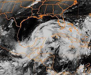 Hurricane Opal - Tropical Storm Opal emerging into the Gulf.