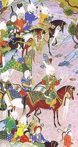 Zarrin-Kafsh - Prince Tous-Nowzar with gold-shoed kinsmen and his elephant flag (from a miniature of the Shahnameh).