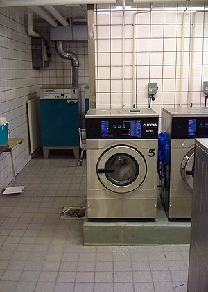 A laundry room in Stadshagen, Stockholm, Sweden.