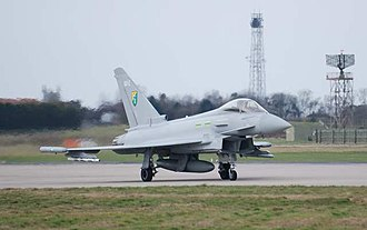 Coningsby - Typhoon of No.3 Squadron takes off in February 2008