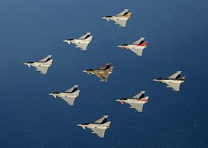 Eurofighter Typhoon variants - Typhoons representing the RAF Typhoon squadrons -  1 Sqn, 2 Sqn, 3 Sqn, 6 Sqn, 29 Sqn, 11 Sqn, 41 Sqn, 1435 Flight, and BOB75 in the centre to commemorate the Battle of Britain
