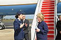 U.S. Air Force Col. Peggy Poore, commander, 65th Air Base Wing, greets Secretary of State Hillary Rodham Clinton during a stop at Lajes Field, Azores, Portugal, June 3, 2009 090603-F-MK264-040.jpg