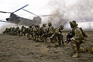 United States special operations forces - Army Rangers during a training operation.