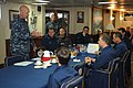 U.S. Navy Vice Adm. Scott H. Swift, left, the commander of the U.S. 7th Fleet, discusses fleet operations with officers in the wardroom aboard the guided missile cruiser USS Chosin (CG 65) during a ship visit 130528-N-GR655-094.jpg