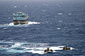 U.S. Sailors with the visit, board, search and seizure team aboard guided-missile cruiser USS Anzio (CG 68) return to the ship after questioning the crew of a dhow Aug. 30, 2009, in the Gulf of Aden 090830-N-DN543-051.jpg
