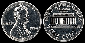 1974 aluminum cent - Image: US 00010 One Cent (1974) Aluminum