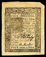 Delaware Kolonialwährung, 4 Schilling, 1776 (Vorderseite)