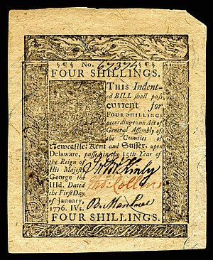 Thomas Collins (governor) - Colonial Delaware currency (1776) signed by Collins.