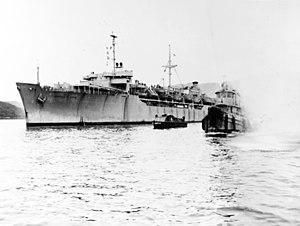 USNS General LeRoy Eltinge (T-AP-154) leaving Sasebo, Japan, on 30 April 1951 (80-G-428659).jpg