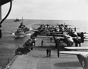 USS Gwin (DD-433) - USS Gwin, alongside USS Hornet during the Doolittle Raid 1942