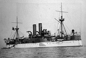 USS Maine (ACR-1) starboard bow view, 1898 (26510673494).jpg