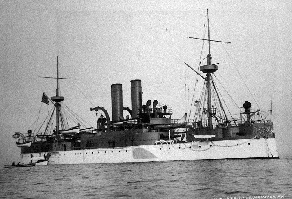 USS Maine (ACR-1) starboard bow view, 1898 (26510673494)