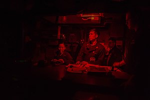 Adaptation (eye) - Extreme red light used on a ship's bridge at night to aid dark adapation of the crew's eyes